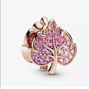 Sparkling Pave Leaf Charm For Pandora Bracelet
